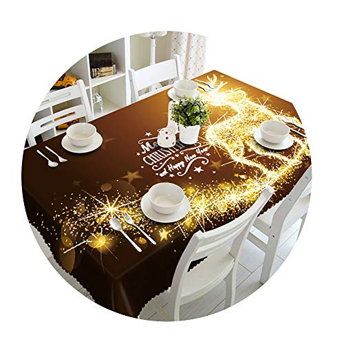 COOCOl Great 3D Tablecloth Christmas Tree Fireworks Waterproof Thicken Rectangular Round Wedding Table Cloth,K,140 X 180Cm