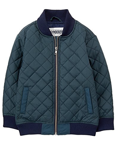 Gymboree Little Boys' Quilted Bomber Jacket, Midnight Navy, L (Navy Blue Kids Flight Jacket)