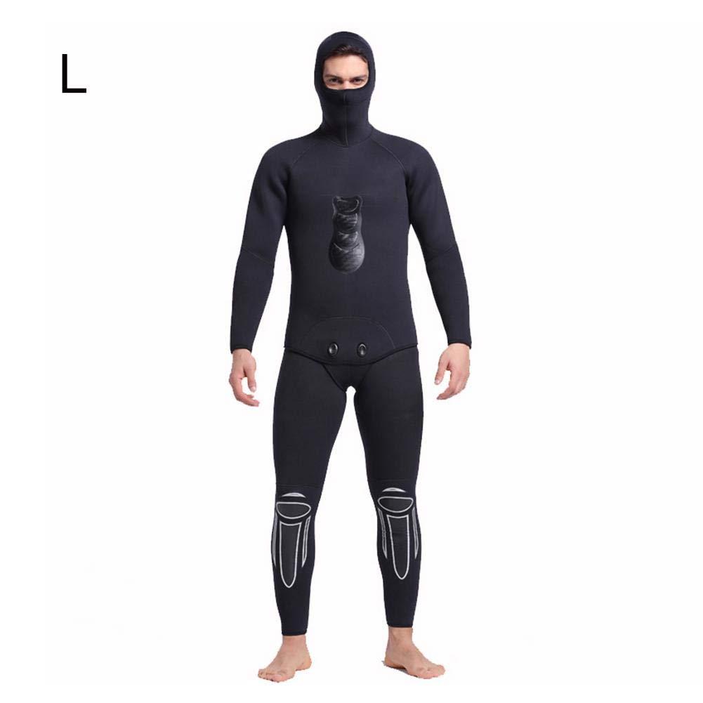 Sunborui ウェットスーツ メンズ 5mmネオプレン素材 ダイビングスーツ 上下セット 長袖 ロングスリーブ ダイビング サーフィン UVカット 防寒保温 B07PQFHRX1 Large  Large