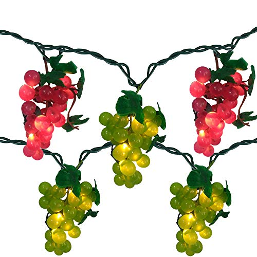 - Northlight Red and Green Grape Summer Patio Light Set - 5 Clusters 35 Lights