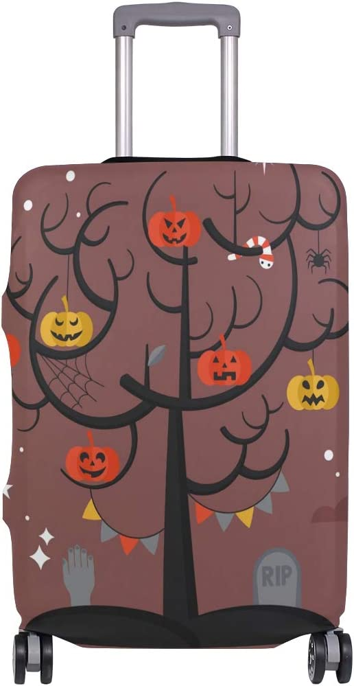 FOLPPLY Happy Halloween Pumpkin Tree Luggage Cover Baggage Suitcase Travel Protector Fit for 18-32 Inch