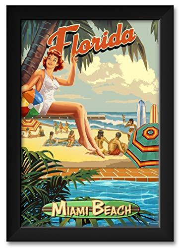 Miami Beach Florida Poolside Girl Framed Art Print by Paul A. Lanquist. Print Size: 12