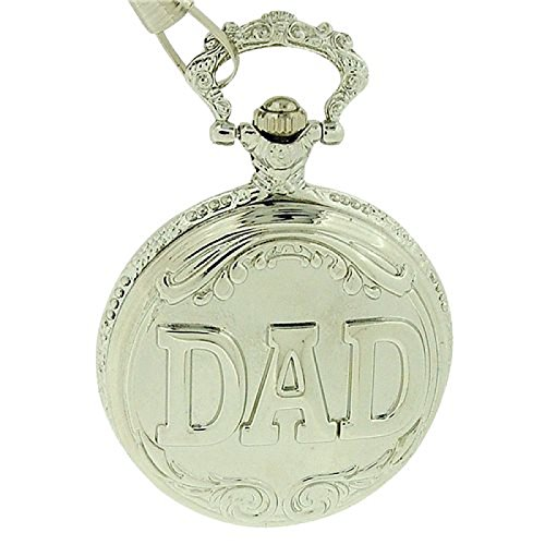 Fathers Day Gift Jakob Strauss Silver Tone ' DAD ' Gents Pocket Watch JAST12 -