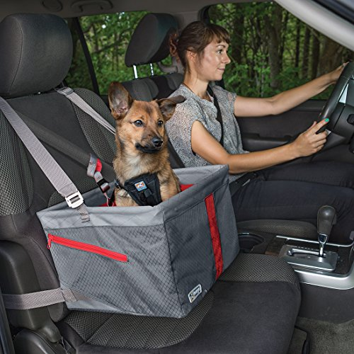 Kurgo Dog Booster Seat for Cars with Seat Belt Tether, Journey Grey/Red
