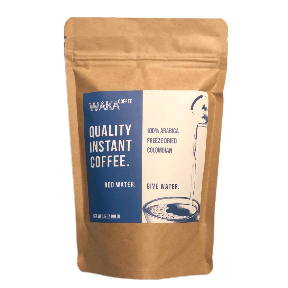 Waka Coffee Quality Instant Coffee, Colombian, Medium Roast   100% Arabica, Freeze Dried, 35 Servings in a 3.5 oz Resealable Bag