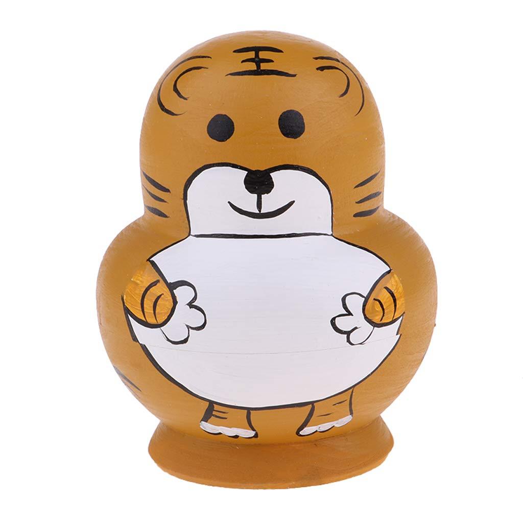 Baoblaze 10 Pi/èces Poup/ées Russes en Bois Peintes /à La Main Motif Tigre Enfant Cadeau