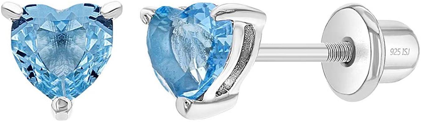Childrens Girls Sterling Silver 5mm Blue Glitter Heart Stud Earrings Boxed