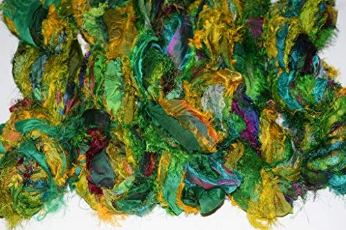 Sari Silk Ribbon Yarn Fuzzy Recycled Sari Silk Ribbon Yarn 3 oz Color Green
