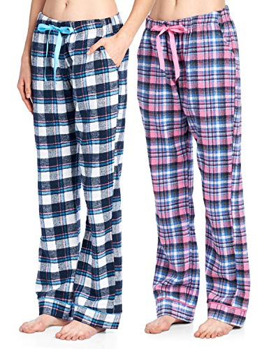 Ashford & Brooks Women's Soft Flannel Plaid Pajama Sleep Pants 2 Pack - Set 4 - Small