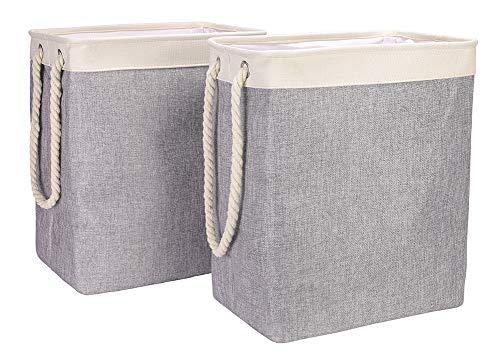 CAMEL CROWN Laundry Basket Set of 2 with Handles Detachable Linen Laundry Hamper for Clothing Toys Bathroom Organization -  - laundry-room, hampers-baskets, entryway-laundry-room - 51kl3uCERRL -