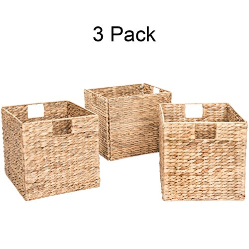 Decorative Hand-Woven Water Hyacinth Wicker Storage Baskets, Set of Three 13x11x11 Baskets Perfect for Shelving Units ()