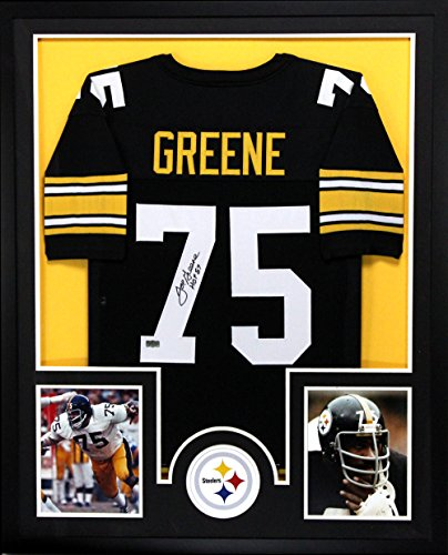 Signed Framed Steelers Jersey (Joe Greene Autographed/Signed Pittsburgh Steelers Framed Custom Black Jersey with