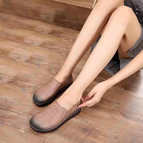 leather FLYRCX shoes Handmade fashion soft shoes bottom platform low heel ladies single work casual flat retro C shoes comfortable xxwrzdq48