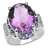 10.40 Carat Genuine Amethyst & Tanzanite .925 Silver Ring