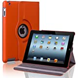 CE Compass 360 Rotating Magnetic PU Leather Case Smart Cover and Swivel Stand for iPad 2/The New iPad 3 - Orange