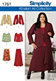 Simplicity Khaliah Ali Collection Pattern 1761 Women's Jacket, Skirt in 2 Lengths, Pullover Knit Top Sizes 20W-28W