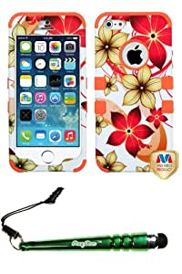 FoxyCase(TM) FREE stylus AND APPLE iPhone 5s Hibiscus Flower Romance Orange TUFF Hybrid Phone Protector Cover cas couverture