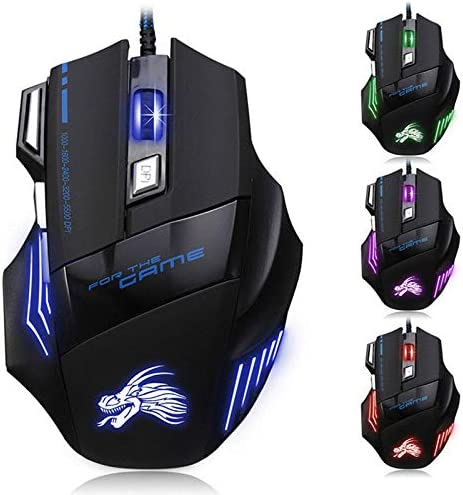 FidgetFidget 5500DPI LED Optical USB Wired Gaming Mouse 7 Buttons Gamer Laptop PC Mice Green