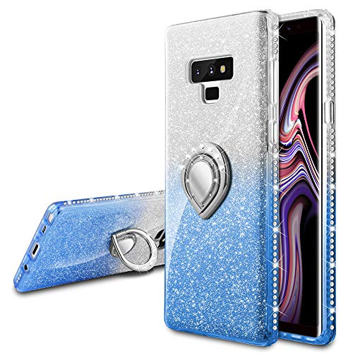 VEGO Galaxy Note 9 Glitter Case with Ring Holder Kickstand for Women Girls Bling Diamond Rhinestone Sparkly Bumper Fashion Shiny Cute Protective Case for Galaxy Note 9(Blue Silver)