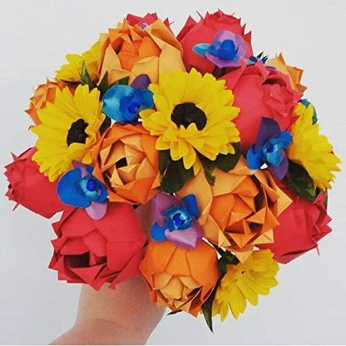Origami Paper Flower Bouquet Sunflowers Orhids Roses Wedding Bridal Flowers Paper Anniversary Gift Alternative Flowers Amazon Co Uk Handmade