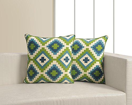 ShalinIndia Geometric Print Cushion Cover Set With 2 Throw P