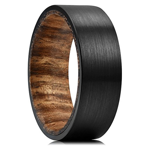 THREE KEYS JEWELRY 8mm Mens Zebra Wood Inner Tungsten Wedding Ring Black Brushed Flat Hunting Ring Wedding Band Engagement Ring Size 10