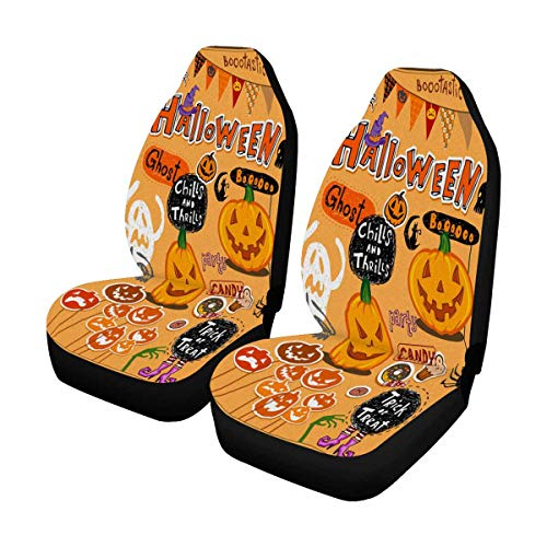 INTERESTPRINT Halloween Scrapbook Elements Car Seat Cover Front Seats Only Full Set of 2, Universal fit for Vehicles, Sedan and -