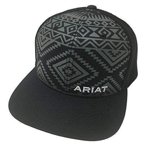 ARIAT Men's Aztec Black Flat Bill Cap, One Size