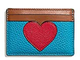 COACH FLAT CARD CASE IN PEBBLE LEATHER WITH HEART SV/TRUE RED MULTI