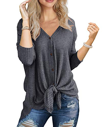 IWOLLENCE Womens Loose Henley Blouse Bat Wing Long Sleeve Button Down T Shirts Tie Front Knot Tops Dark Gray -