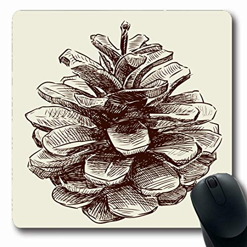 Ahawoso Mousepads for Computers Dry Brown Pinecone Pine Cone Nature Plant Botanical Christmas Coniferous Drawing Drawn Design Forest Oblong Shape 7.9 x 9.5 Inches Non-Slip Oblong Gaming Mouse Pad
