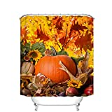 Fangkun Pastoral style Decor Shower Curtain Set - Autumn Leaves Happy Thanksgiving Day Pumpkin Sunflowers 3D Print Pattern - Polyester Fabric Bath Curtains - 12pcs Hooks (YL070#, 72 x 72 inches)