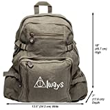 Always Harry Potter Decal Heavyweight Canvas Backpack Bag, Olive & White (Large) For Sale