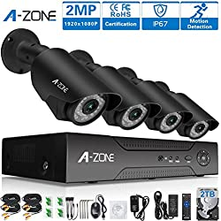 A-ZONE 4CH 1080P AHD Home Surveillance Security Camera System 1080P DVR,4pcs 1080P HD Bullet/IP Cameras + Motion Detection Alarm,2TB HDD