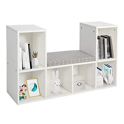 GOTOTOP Multi-Functional Wooden Storage Shelf Bookshelf Bookcase with Reading Nook Home Office Use Practical New White