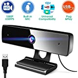 Webcam with Microphone, HD Full 1080P Webcam 200W Fixed Focus Computer Camera for PC Laptops Desktop Conferencing Video Chatting