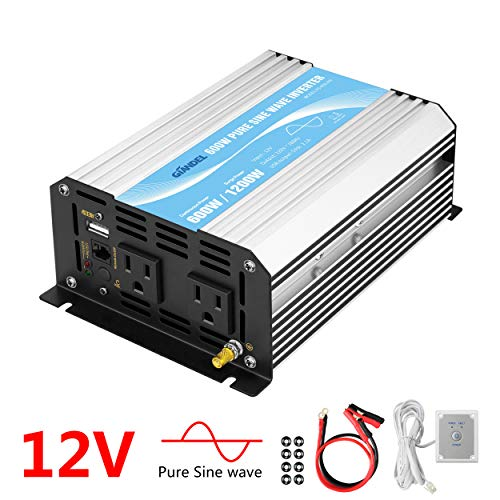 600w Power Pack - Power Inverter Pure Sine Wave 600Watt 12V DC to 110V 120V with Remote Control Dual AC Outlets and USB Port for CPAP RV Car Solar System Emergency