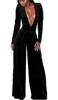 Beloved Womens Velvet Long Sleeve Deep V Neck Knot Wide Leg Bodycon Club Jumpsuits