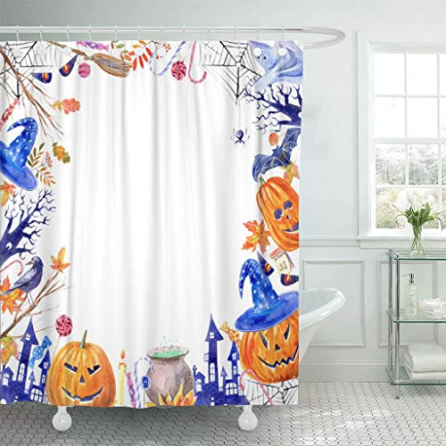 Emvency Fabric Shower Curtain Curtains with Hooks Pumpkin Jack O' Lantern Lollipop Broom Magic Hat Ghost Candle Castle Bat Spider Tree Autumn Leaves 72
