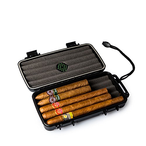 - Jamestown Cigar Trail Ridge XL Plastic Travel Humidor Travel Cigar Case - Rugged, Waterproof, Dustproof, Shockproof Premium Plastic Hard Shell Case - Built in Foam Humidor and Holds Up to 5 Cigars
