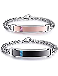 His and Hers Stainless Steel Personalized Bracelet Custom Engraving