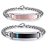 NEHZUS His and Hers Stainless Steel Personalized Bracelet Custom Engraving