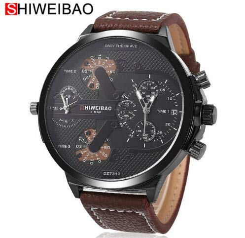 Sanda Watch - Shiweibao Watches Male Quartz Watch Casual Leather Strap Military Wristwatch Mens Brand Relojes - Casual Reloj Quartz Watches Brand Watch Hand Wrist Wristwatch Hour Military Dual