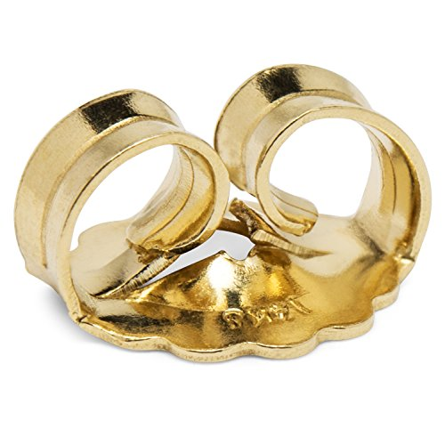 Single Earring Back Replacement |14K Solid Yellow Gold | Threaded Push on-Screw off |Quality Die Struck | Post Size .0375