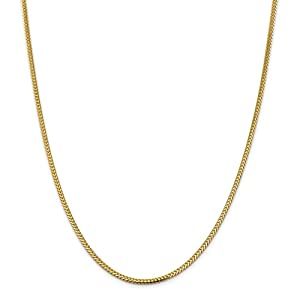 Genuine 14k Yellow Gold 2.3mm Franco Chain Necklace 30 inches
