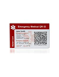 MedicEngraved Emergency Medical QR ID Card - PVC Plastic Wallet Card - Fully customized QR encoding included