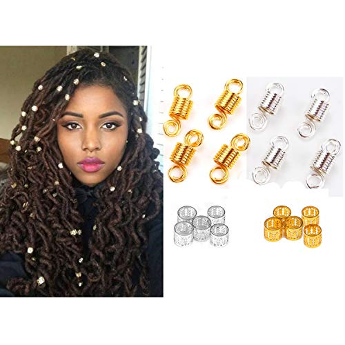 Dreadlocks Beads 120 Pcs Metal Hair Cuffs Hair Beads For Dreadlocks Hair Rings Beads For Braids Beard Decorations (Golden and Silvery)