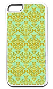 01-Floral Damask Pattern-Gold/Green Case for the APPLE IPHONE 4, 4s -Hard White Plastic Outer Case with Tough Black Rubber Lining