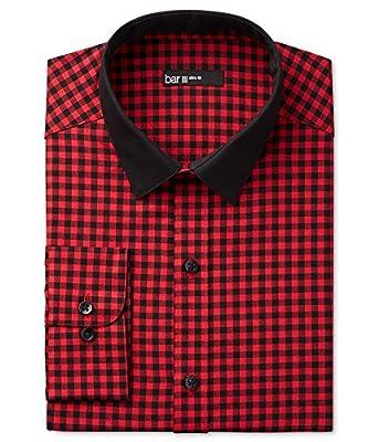 Bar III Mens Changeable Collar Check Dress Shirt