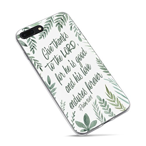 Christian Bible Verses Inspirational Case for iPhone 8/iPhone 7,Leaves Psalm 106:1 Give Thanks to The Lord Soft Clear Side Case for iPhone 7/iPhone 8